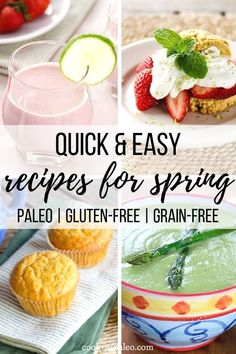 12 Paleo Recipes for Spring using fresh seasonal fruits and vegetables - mango, avocado, asparagus, strawberry, pineapple and arugula - all gluten-free. Paleo Food List, Paleo Recipes, Snack Recipes, Free Recipes, Apple Smoothies, How To Eat Paleo, Paleo Breakfast, Healthy Appetizers, Paleo Dessert