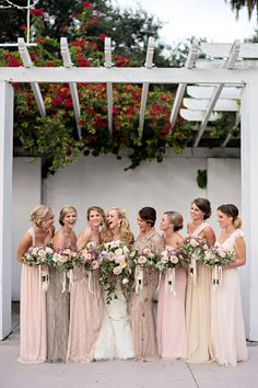 Florida Museum Wedding by Kristen Weaver – Southern Weddings glitzy bridesmaid dresses Neutral Bridesmaid Dresses, Designer Bridesmaid Dresses, Bridesmaids And Groomsmen, Wedding Bridesmaids, Sparkly Bridesmaids, Mismatched Groomsmen, Blush Pink Bridesmaid Dresses, Bridesmaid Bouquets, Gorgeous Wedding Dress