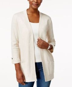 Karen Scott Three-Quarter-Sleeve Cardigan, Created for Macy's - Purple XXL