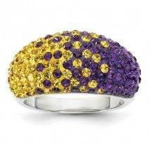 Spirit Collection- Team Colors Purple and Gold Sterling Silver Swarovski Elements Spirit Ring