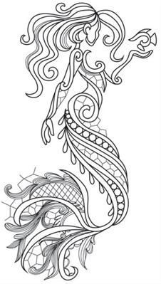 Aquarius - Mermaid Urban Threads: Unique and Awesome Embroidery Designs Carved inside Bathtub of Saige's Room Aquarius - Mermaid_image Aquarius - Mermaid tattoo idea and instead of a fish an orca! Intricate lines and lacy detailing come together in this s Urban Threads, Adult Coloring Pages, Coloring Books, Mermaid Coloring Pages, Simple Coloring Pages, Mandala Coloring Pages, Zentangle, Embroidery Designs, Embroidery Tattoo