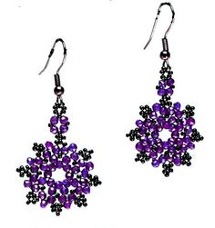 """Daisy"" Beaded Earrings Pattern - FREE - From Bead Magic  #heartbeadwork    3-4mm faceted or round beads and seed beads - plus french hook jewelry findings"