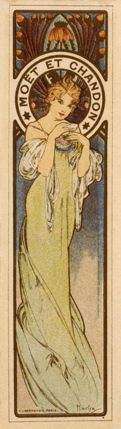 Moët & Chandon ad by Alphonse Mucha, late 19th/ early 20th century