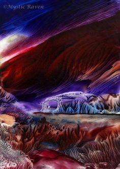 ~Flowing Wings Among the Weary Hillside~ ©Mystic Raven  Encaustic Painting