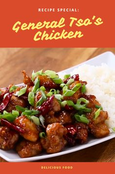 Ingredients  CHICKEN 8 cups vegetable oil (2 L), for frying 1 cup rice wine (240 mL) ¼ cup soy sauce (60 mL) 1 lb boneless, skinless chicken thighs (455 g), cubed 1 cup flour (125 g) 1 tablespoon salt  GENERAL TSO'S SAUCE 1 tablespoon vegetable oil 2 cloves fresh garlic, minced 1 teaspoon fresh ginger, grated ½ cup dried chili pod (45 g) ¼ cup rice wine (60 mL)
