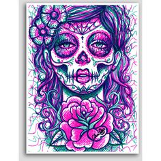 Day of the Dead Sugar Skull Girl Colorful Pop Art Neon Tattoo Poster... ❤ liked…