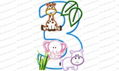 Jungle-Safari-Zoo 3rd Birthday Applique Embroidery Design contains pieces from our zoo animal category and is optimized to fit this 5 x 7 configuration. Adding a child's name would be easy with a larger hoop or a second hooping. This design is available in every number and every letter. If the one you want is not listed…