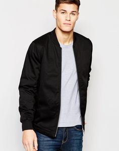 ASOS+Bomber+Jacket+In+Black