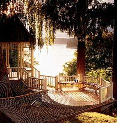hammock, deck, and lake
