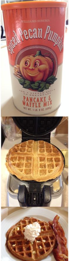 Made these delicious Spiced Pecan Pumpkin waffles from #williamssonoma mix.