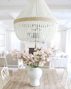 Dining room lighting is Ro Sham Beaux Orbit- White Milk beads. Dining room lighting is Ro Sham Beaux Coastal Bedrooms, Coastal Living Rooms, Coastal Cottage, Coastal Decor, Coastal Interior, Coastal Rugs, Coastal Bedding, Coastal Furniture, Diy Chandelier