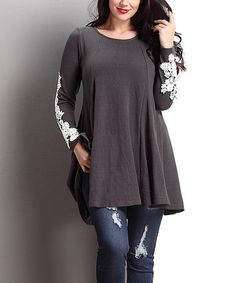 Another great find on #zulily! Charcoal Lace Appliqué Swing Tunic - Plus #zulilyfinds
