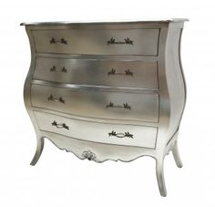 French Style Furniture Alice Silver Chest of 4 Drawers Designer Bedroom Silver Furniture, Hall Furniture, French Furniture, Shabby Chic Furniture, Painted Furniture, Shabby Chic Chest Of Drawers, Victorian Hallway, Silver Bedroom, New Room