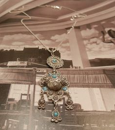 Colar Estilo Étnico Turquesa Vintage Anos 70