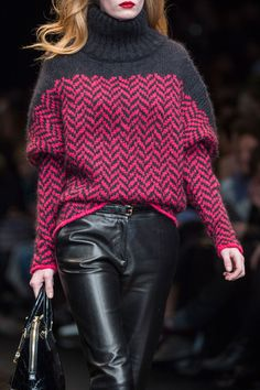 Trussardi 1911 Fall 2014 - Details   I love the color combo but would try this in another sweater/poncho pattern.