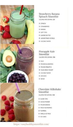 The perfect smoothie equation for weight loss. Want to easily incorporate smoothies into your daily lifethen check out this free ebook. Homemade Smoothies, Healthy Fruit Smoothies, Best Smoothie Recipes, Yummy Smoothies, Simple Smoothies, Detox Smoothies, Green Smoothies, Strawberry Banana Spinach Smoothie, Pineapple Kale Smoothie