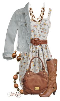 """Flower Dress"" by jackie22 ❤ liked on Polyvore featuring Hollister Co., Marc by Marc Jacobs, Tamaris, Betty Jackson, top handle bags, floral dresses, beaded bracelets, cowboy boots, wood bangles and denim jacker"