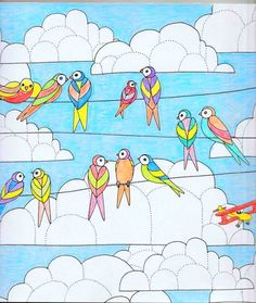 Coloured By Caroline Kish Me Birds Butterflies Colouring