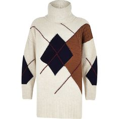 Shop our new Cream argyle roll neck knit jumper at River Island today. River Island Outfit, Cable Knit Cardigan, Roll Neck, Plaid Pattern, Women Wear, Ladies Wear, Autumn Fashion, Women's Fashion, Tie Dye