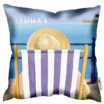 Deck Chair - Martin Wiscombe - Art Print Cushion. Machine washable, Free UK delivery, handmade in UK. £34.99