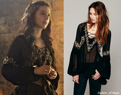 In the tenth episode Mary wearsthis Free People Paths of Fancy Blouse in black ($168 $99.95). Worn with Azaara earrings, Gillian Steinhardt labyrinth and signet rings.