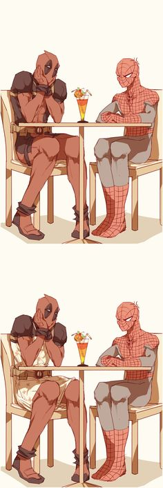 Deadpool and Spider-Man date artwork by lkikai.