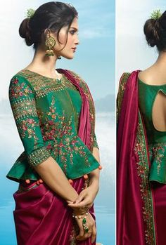Maroon and Green Saree - Desi Royale Saree Jacket Designs, Blouse Designs High Neck, Silk Saree Blouse Designs, Choli Designs, Fancy Blouse Designs, Bridal Blouse Designs, Black Saree Blouse, Green Blouse, Stylish Blouse Design