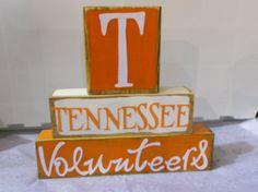 University of Tennessee Volunteer's Football Wood Block Decor Tennessee Volunteers Football, Tennessee Football, Alabama Football, American Football, College Football, Wood Block Crafts, Wood Blocks, Wood Crafts, Tennessee Girls