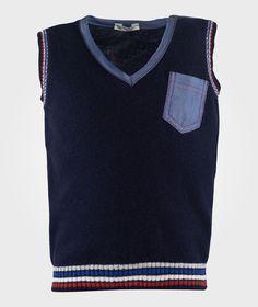 Benetton - V Neck Sleevless Vest With Pocket Detail Navy
