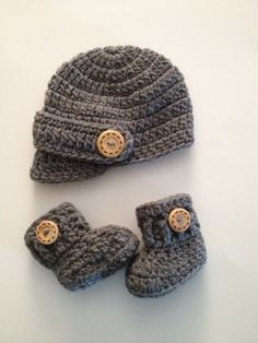 SALE Crochet Baby Hat and Boots, Baby Boy Coming Home Outfit, Newborn Visor Hat, Baby Boots,Crochet Boots,Newborn Photo Prop,Made To Order by ComfyCrochetBoutique on Etsy