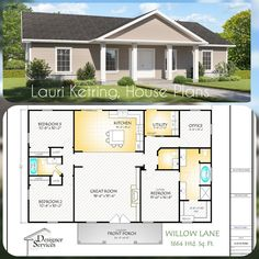 The Willow Lane House Plan, Gable Roof Option - This open concept plan, Willow Lane, has so much to offer for a Square Foot Home. One Level House Plans, House Plans One Story, Dream House Plans, Small House Plans, Dream Houses, Square House Plans, Metal House Plans, One Story Houses, One Floor House Plans