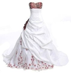 Faironly New Red Embroidery With Red Flower Taffeta Wedding Dress Bridal Gown