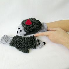 Hand Knitted mittens Adult size Wool Hedgehog от mymomsshop1
