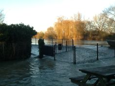 Tricky getting through the front gate today - that water is moving fast!