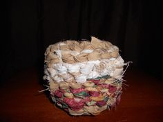 Small basket made from fabric scraps.