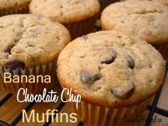 Banana Chocolate Chip Muffins Years ago, I spent a summer working in Banff, Alberta.  Quite often I would stop in at a local coffee shop called Evelyns and pick up one of their Banana Chocolate Chip Muffins.  They were delicious!  Once I returned home...