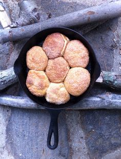 Monkey bread using Pillsbury dough...delicious...easy...fun!  Lots of cassic camping recipes on this site.