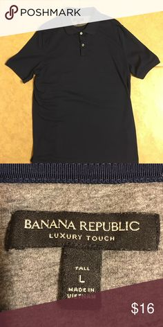 Men's Banana Republic Short Sleeve Polo Tall L Men's Express Short sleeve Polo, size tall L. Luxury touch. Nice Solid royal blue. Perfect mint condition, worn once!  Smoke-free home.  Bundle and save! Banana Republic Shirts Polos
