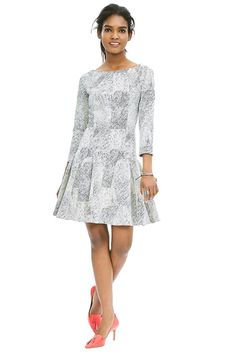 Bet you never thought these shades of gray could look so good, did you?  Textured Fit-And-Flare Dress, $130; Banana Republic.   - Redbook.com