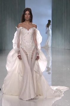 "Galia Lahav ""Thelma"" Stunning Embroidered Off Shoulder Swetheart Mermaid Wedding Dress / Bridal Gown with Vintage Ornament, Long Sheer Silk Sleeves and a Detachable Bustle Train. Collection ""Victorian Affinity"" by Galia Lahav … Stunning Wedding Dresses, Wedding Dress Trends, Dream Wedding Dresses, Bridal Dresses, Wedding Gowns, Elie Saab Bridal, Zuhair Murad Bridal, Mermaid Dresses, The Dress"