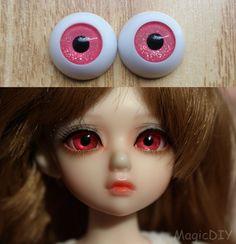Hand Made BJD Doll Eyes Glitter Pink Acrylic Half Ball 8mm 10mm 12mm 14mm 16mm 18mm 20mm 22mm 24mm 26mm