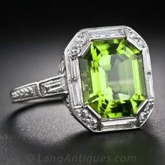Art Deco Peridot, Platinum and Diamond Ring