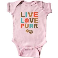 Inktastic Live Love Purr Infant Creeper Baby Bodysuit Laugh Cat Lover Kitty I Cats Ball Of Yarn Paw Print Pinkinkartkids Fun Humor Funny Gift One-piece, Infant Boy's, Size: 6 Months, Pink