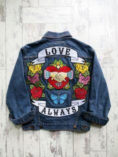 e34c32b788 Denim and Bone  Love Always  embroidered jacket Embroidered Denim Jacket
