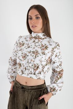 The Lusting Days Crop Blouse, White Long Sleeve, Bell Sleeve Top, Crop Tops, Floral, Cotton, Collection, Design, Women