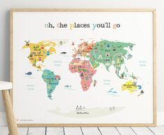 Animal world map print kids world map poster nursery world map hey i found this really awesome etsy listing at httpsetsylisting496592157printable world map poster a4 a3 8x10 in gumiabroncs Images