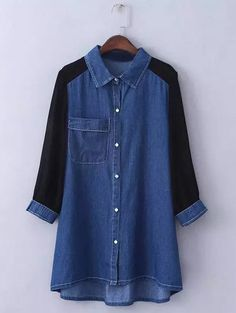 Deep Blue Plus Size Trendy Chiffon Sleeve Denim Shirt   RoseGal.com