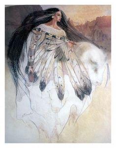 White Buffalo Calf Woman Canvas Print / Canvas Art by Pamela Mccabe