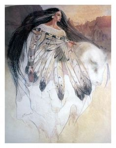 "White Buffalo Calf Woman - a sacred woman of supernatural origin, is treated as a prophet or a messiah and is central to the Lakota religion. Oral traditions relate that she brought the extended Lakota nation of the Teton Sioux their ""Seven Sacred Rituals""."