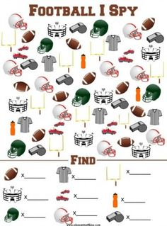 Football I Spy Printable Game - The Pleasantest Thing : Football I Spy Game - free printable! Fun idea for kids to celebrate football or the Super Bowl! From Simple Play Ideas Football Crafts, Free Football, Football Fans, Kids Football, Football Parties, Football Season, Alabama Football, College Football, Football Squares